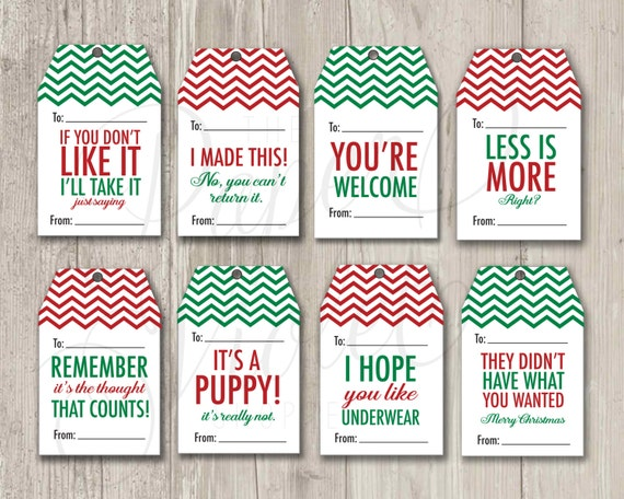 Funny Gift Tags, Christmas Tags, Mean Gift Tags, Holiday Tags