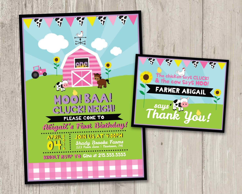 Invitación del cumpleaños de la granja con tarjeta gracias | Etsy