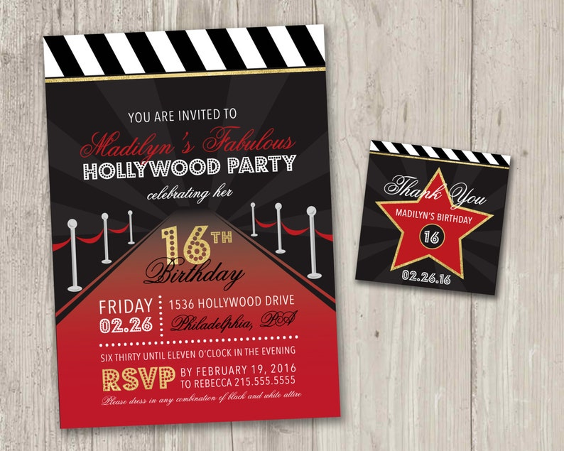 Hollywood Party Invitation Movie Night Sweet Sixteen