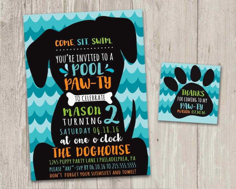 b9cd1c58bc Puppy Pool Pawty Invitation Puppy Pool Birthday Party Invite | Etsy