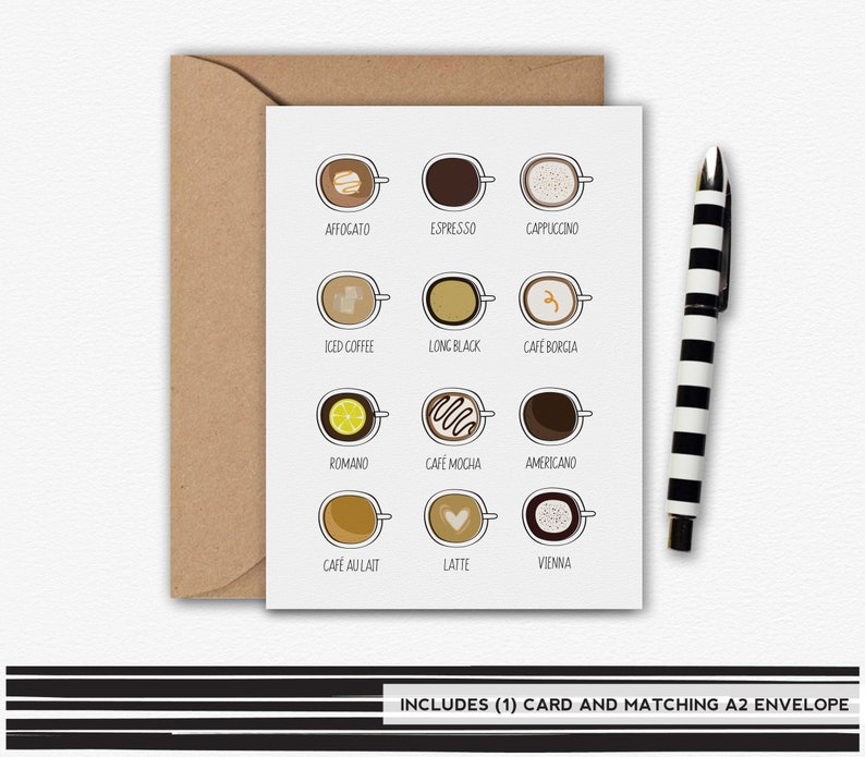 Coffee Card Types of Coffee Coffee Lover Coffee Note Card image 0