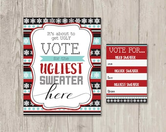 Ugly Sweater Party, Vote here sign, voting ballots, It's about to get ugly contest  | Printable Clipart