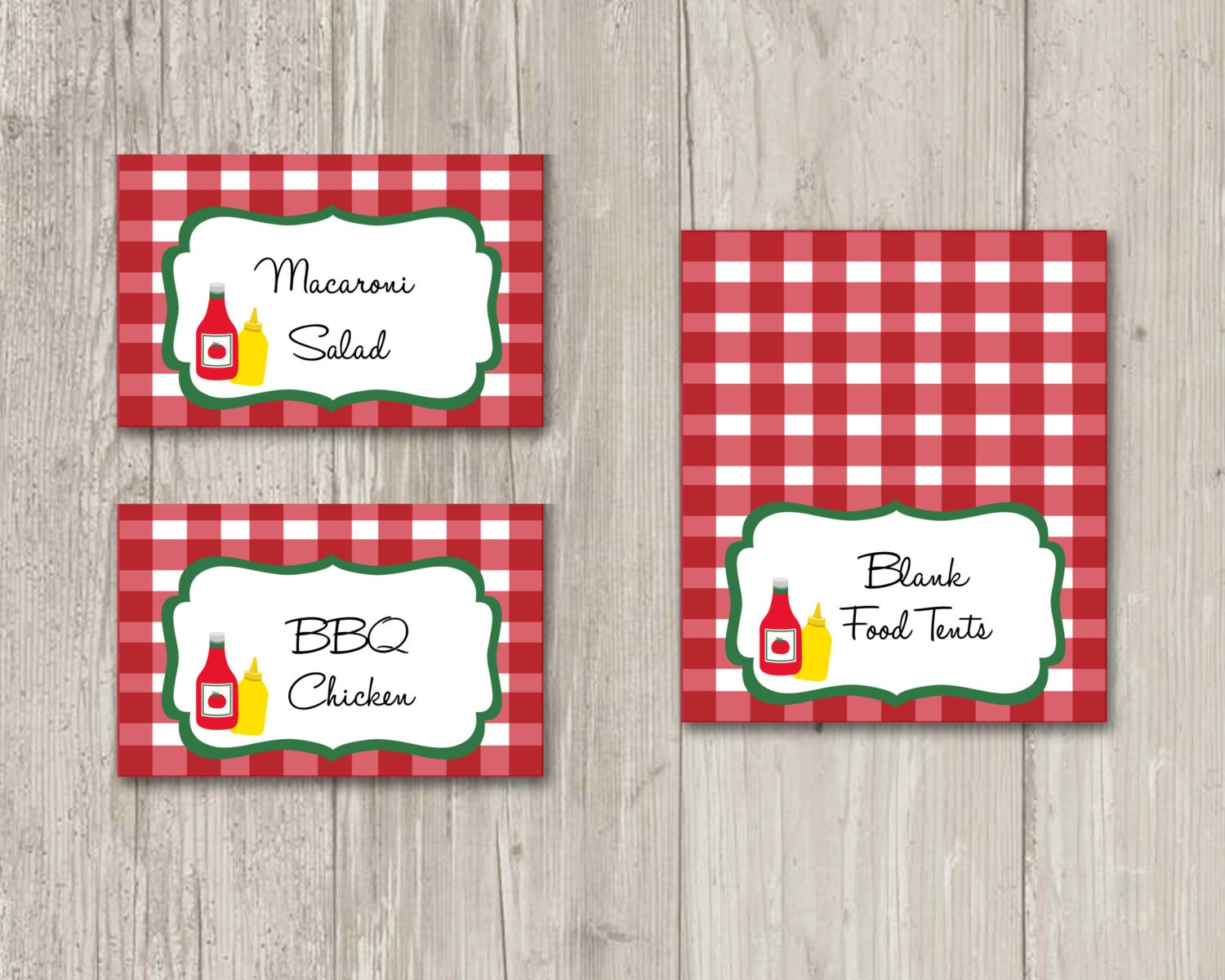 BBQ Food tents Food labels Picnic Place Cards Printable | Etsy