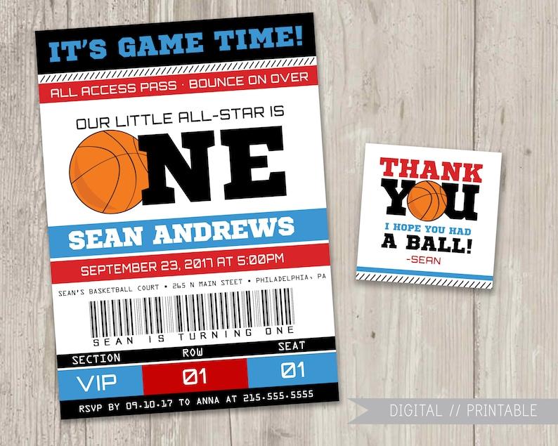Basketball Ticket Birthday Invitation Sports Birthday