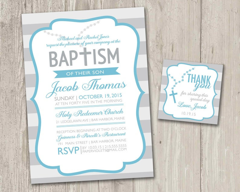 photo relating to Free Printable Baptism Invitations identify Printable : Baptism invites with rosary No cost matching thank by yourself tag, Striped Christening Invitation electronic record