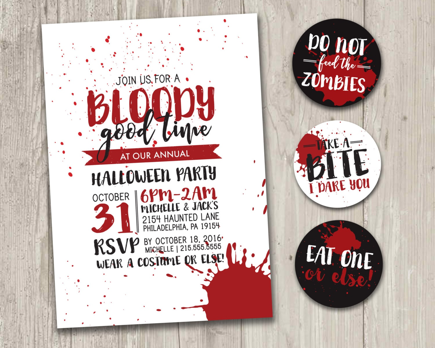 Halloween Party Invitation A Bloody Good Time Zombie   Etsy