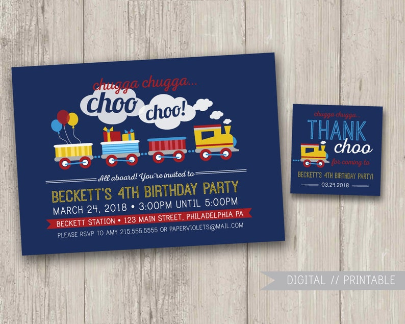 Train Birthday Invitation Party Chugga