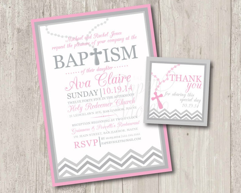 graphic regarding Free Printable Baptism Cards referred to as Printable : Little one female baptism invitation with rosary Totally free matching thank yourself tag electronic record