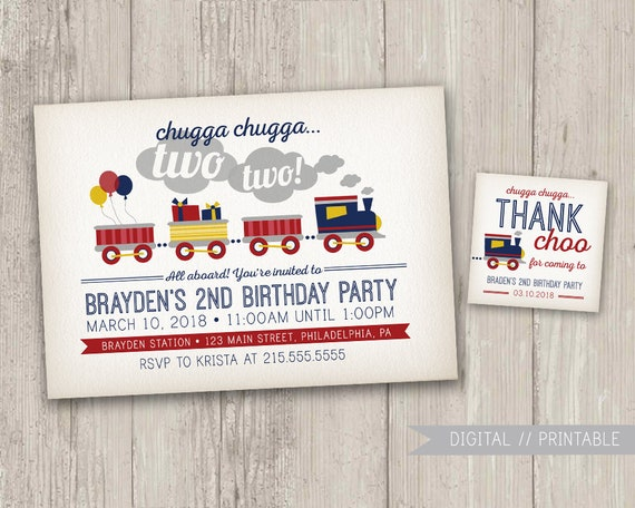 Vintage Style Train Birthday Invitation Party