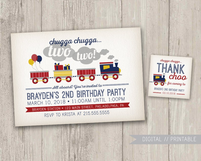 Vintage Style Train Birthday Invitation Party