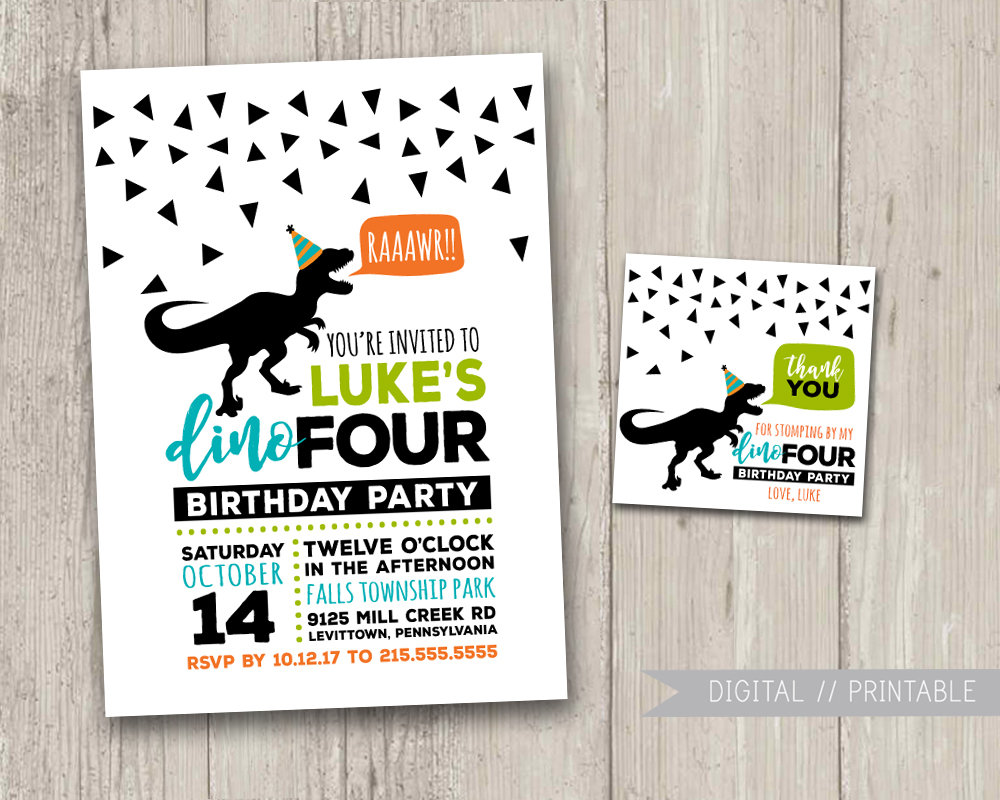 dinoFOUR Birthday Party Fourth Birthday Dinosaur Invitation | Etsy