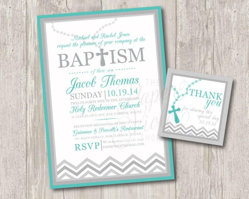 Druck Baby Junge Taufe Einladungen Mit Rosenkranz Kostenlose Passende Danke Tag Chevron Taufe Oder Taufe Einladung Digitale Datei