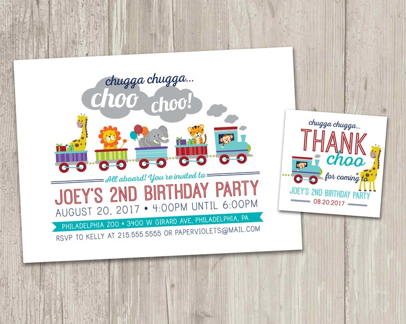 Zoo Train Birthday Invitation Animal Party