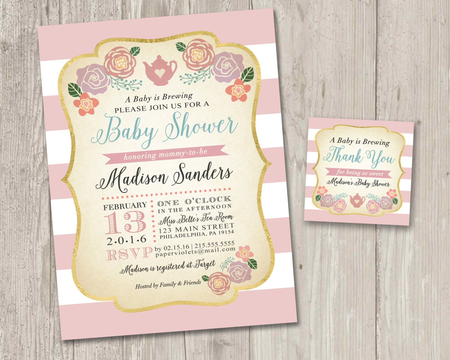 Baby Shower Invitation Vintage Tea Party Invitation Wedding | Etsy