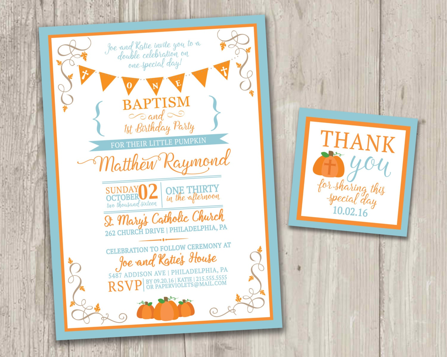 Our Little Pumpkin\'s Baptism & Birthday Invitation | Etsy