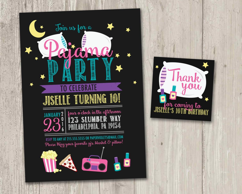 Invitación fiesta pijama Invitación de la fiesta Pijamada | Etsy