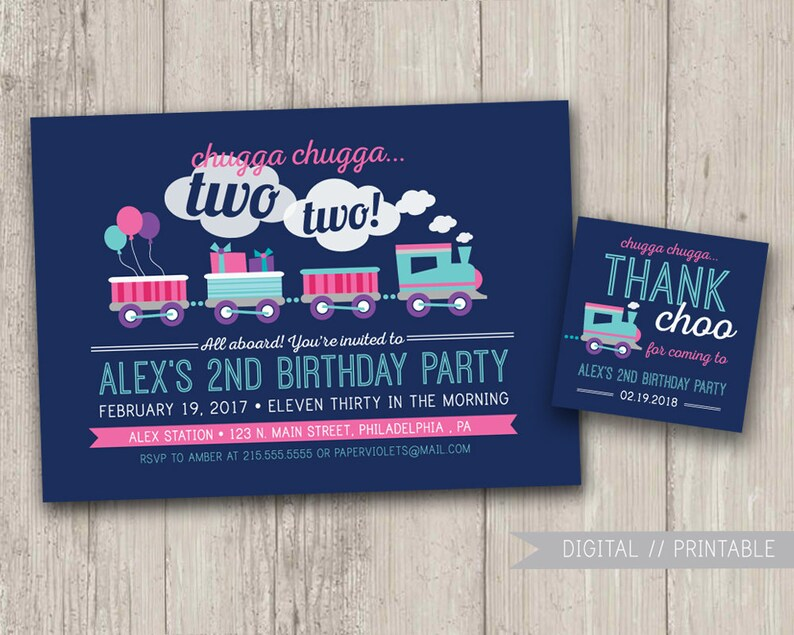 Train Birthday Invitation Party Little Girl