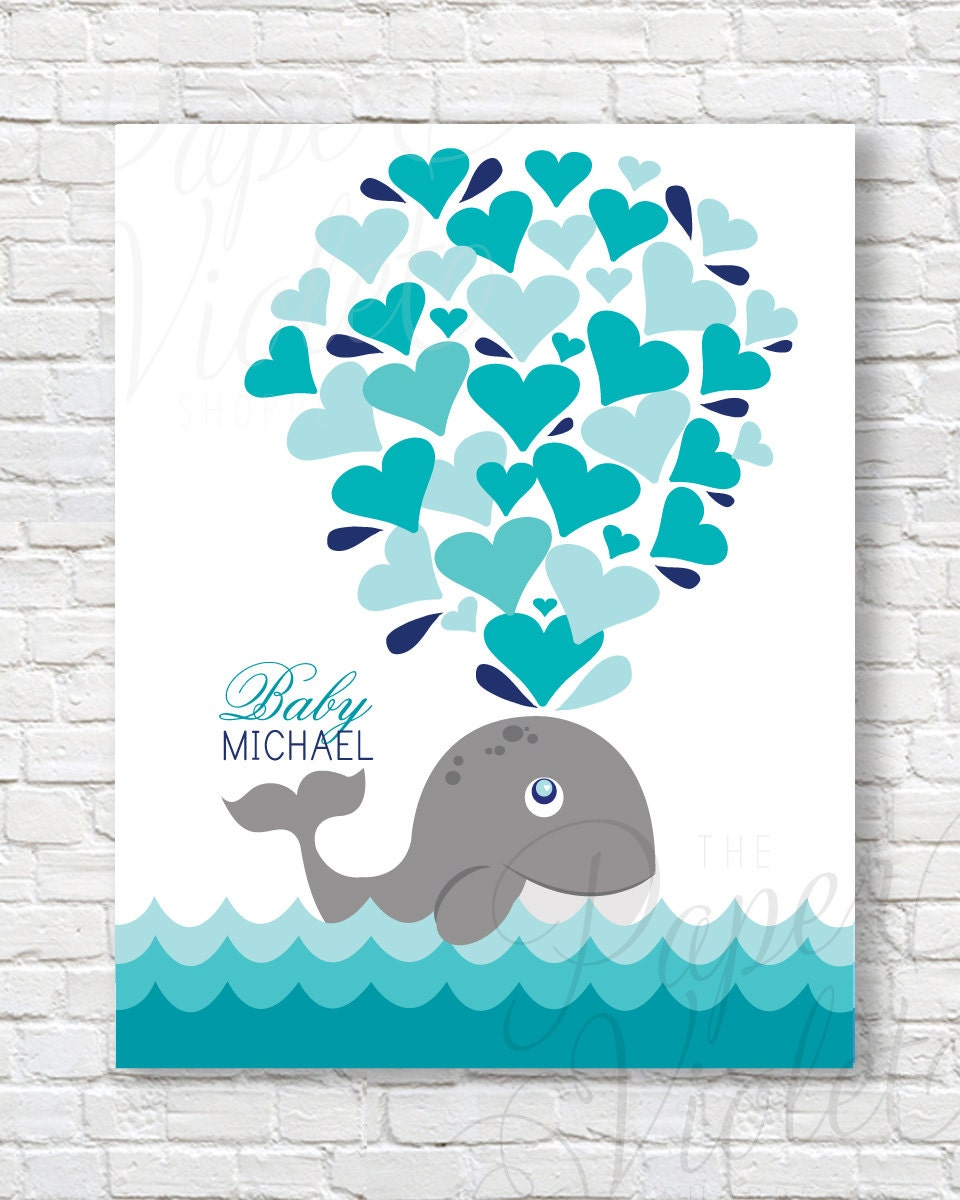Printable Whale Guest Book Alternative Baby Shower Guests