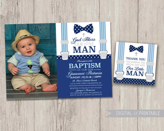 Little Man Baptism Invitations With Photo Free Matching Etsy
