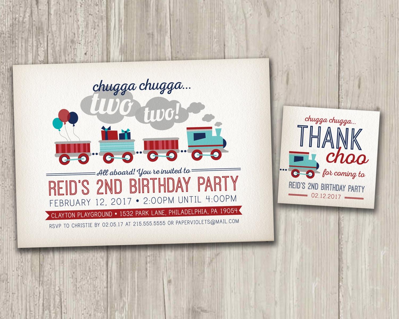 Vintage Style Train Birthday Invitation Train Birthday Party | Etsy