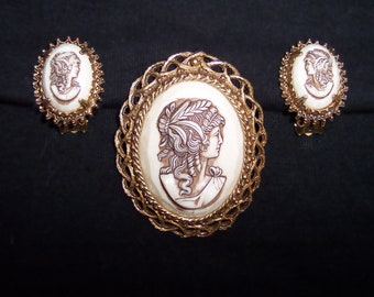 Vintage Florenza Faux Ivory Cameo Brooch & Earrings