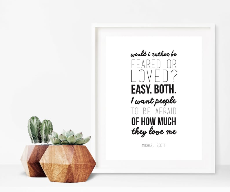 The Office Michael Scott Fear And Love Quote Digital Print Etsy
