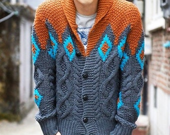 Men s sweater wool jacket cardigan grey orange hand knit replica gift for  him 04439c2d6