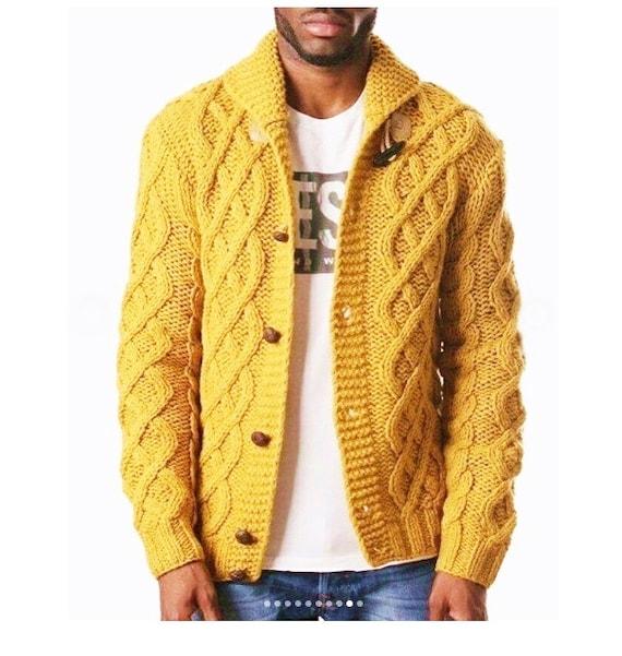Mens Sweater Wool Jacket Cardigan Knit Yellow Mustard Etsy