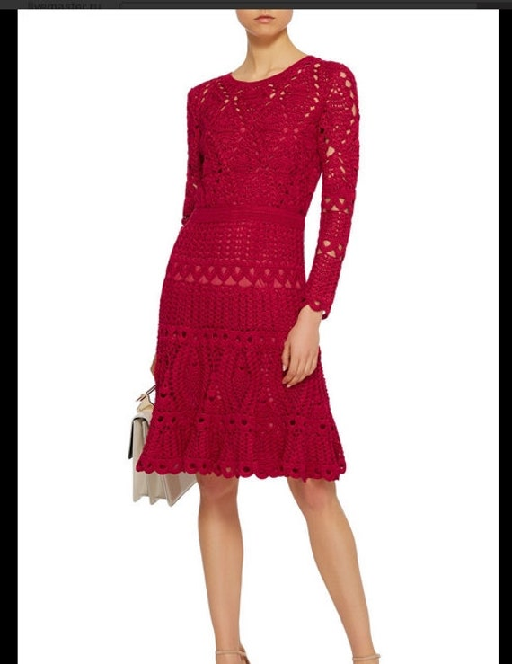 sleeves wedding long gift bride evening Midi lace dress replica sexy women crochet red tOq4w