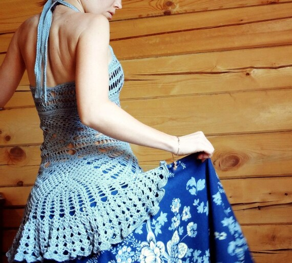 gift Mini 0 lace sexy silver grey tunic beach crochet boho dress S XS women AwqSFx6HA