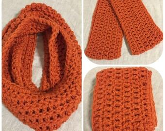 Chunky crochet infinity scarf, carrot orange