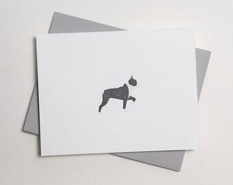 Boston Terrier Frenchie - Letterpress Dog Card