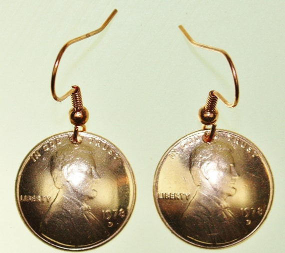 Real Domed Copper Penny Earrings