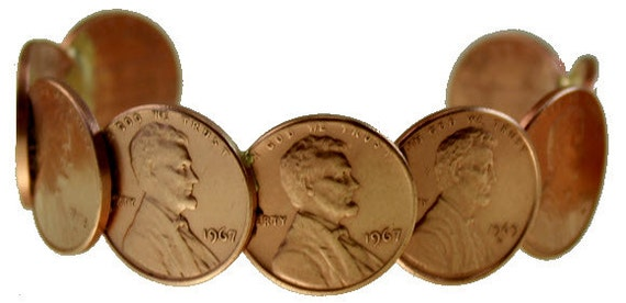 Genuine and Original Since 1975 Never-Broke Copper Penny Bracelet - Cuff style - Made with real Copper Pennies