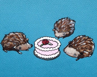 "Hedgehog Animalcule original illustration 5""x 6"""