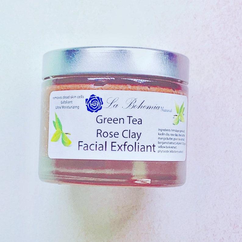 Sacred Rose Green Tea Face Exfoliant Scrub Organic 4oz image 0