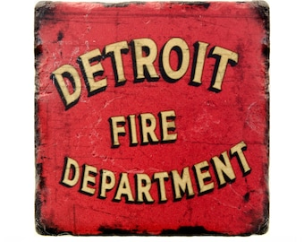 Detroit Fire Department Coaster, Firefighter, Detroit Firefighter, Detroit Fire Coaster, Man Cave Decor, Housewarming Gift, Retirement Gift