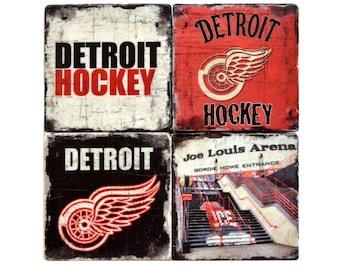 Detroit Red Wings Marble Coasters, Red Wings Drinking Tiles, Detroit Hockey, Joe Louis Arena, Man Cave Coasters, Stanley Cup Stone Coasters