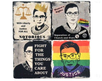 RBG Coasters, Ruth Bader Ginsburg, Supreme Court, Social Justice, I Dissent, Feminist Coasters, Law School, Graduation Gift, Gift For Her