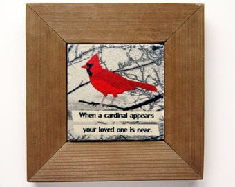 Cardinal with Frame, Cardinal Wood Frame, Red Cardinal Frame, Cardinal Coaster, Bird with Frame, Housewarming Gift, Home Living, Mom Gift
