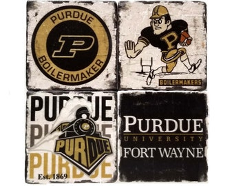 Purdue Coasters, Indiana University, College Tiles, Man Cave Decor, Bar Decor, Birthday Gift, Gift For Dad, Boyfriend Gift, Host Gift