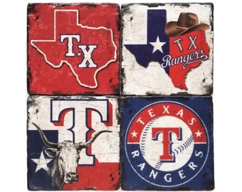 Texas Rangers Coasters, Texas Coasters, Tumbled Marble, Man Cave Decor, Home Decor, Groomsmen Gift, Wedding Gifts, Gift For Dad, Host Gift
