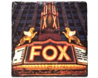 Fox Theater Coaster, Detroit Coaster, Man Cave Decor, Wedding Gift, Birthday Gift, Hostess Gift, Gift For Her, Gift For Mom, Tumbled Marble