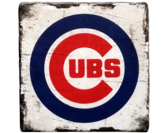 Chicago Cubs Coaster, Baseball Marble Tile, Coffee Table Decor, Man Cave Decor, Gift For Him, Gift For Dad, Host Gift, New Home Decor