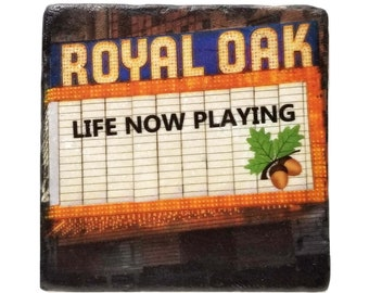 Royal Oak Coaster, Michigan Tile, Wedding Gift, Birthday Host Gift, Gift For Mom, Best Friend, Man Cave Decor, Moving Away Gift