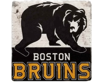 Boston Bruins Marble Coaster, Boston Hockey, Bar Decor, Sports Gift, Housewarming Gift, Coffee Table Decor, Gift For Dad, Gift For Him