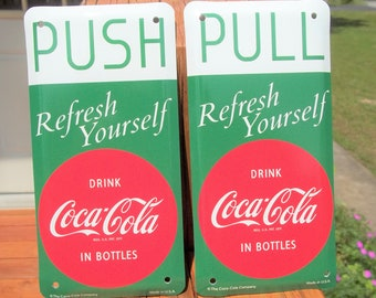 Coca-Cola Door Push Sign Store Ice Cold In Bottles Nostalgic BRAND NEW