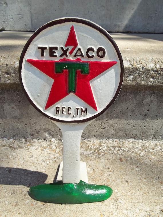 CAST IRON TEXACO GAS STATION LOLIPOP SIGN DISPLAY DOORSTOP PAPERWEIGHT