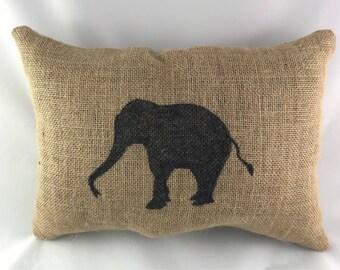 Elephant Burlap Pillow, Elephant Pillow, Burlap Pillow, Elephant Home Decor, Zoo Decor, Gift For Her, Gift For Him, Throw Pillow