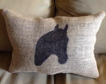 Horse Head Burlap Pillow, Farm Pillow, Horse Pillow, Burlap Pillow, Rustic Pillow, Throw Pillow, Gift For Her, Gift For Him, Farm Decor